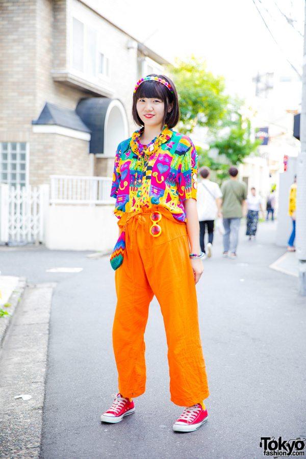 Colorful Vintage Street Style w/ Printed Top, Orange Pants, Titicaca Bag & Converse Red Sneakers