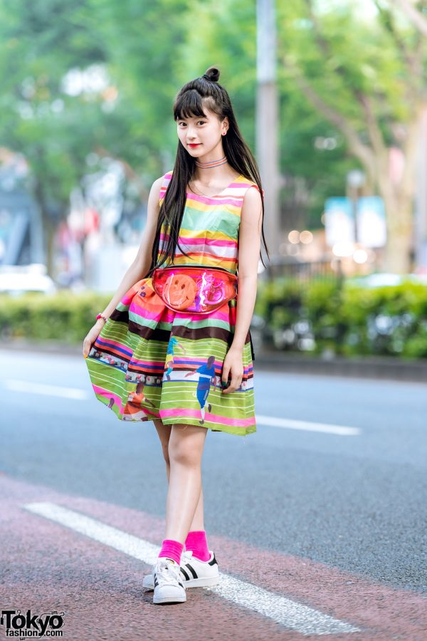 Japanese Pop Idol & Model A-pon in Harajuku w/ Colorful Dress, Adidas Sneakers & Spinns See Through Waist Bag