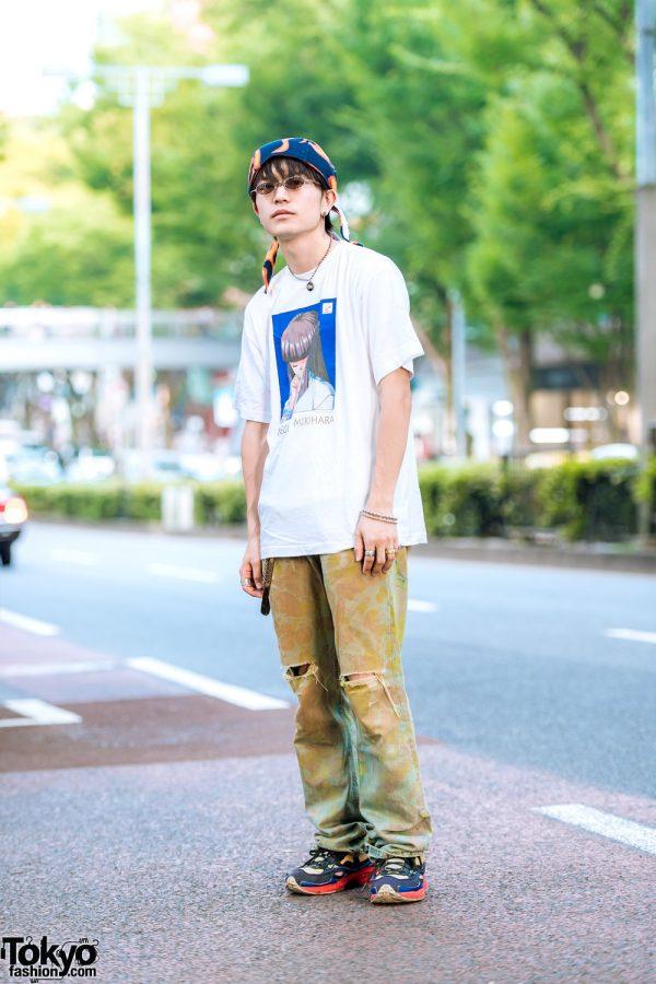 Casual Style in Harajuku w/ Tokimeki Memorial Megumi Mikihara Shirt, Ripped Jeans & Raf Simons Ozweego Sneakers