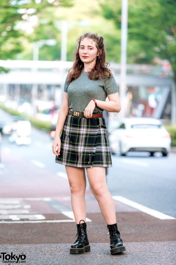 Harajuku Girl Street Style in Tiffany & Co, Gucci, H&M Ribbed Top, Plaid Wrap Around Skirt & Dr. Martens Boots