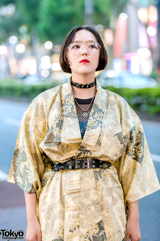 Vintage Gold Japanese Yukata Street Style W Platforms