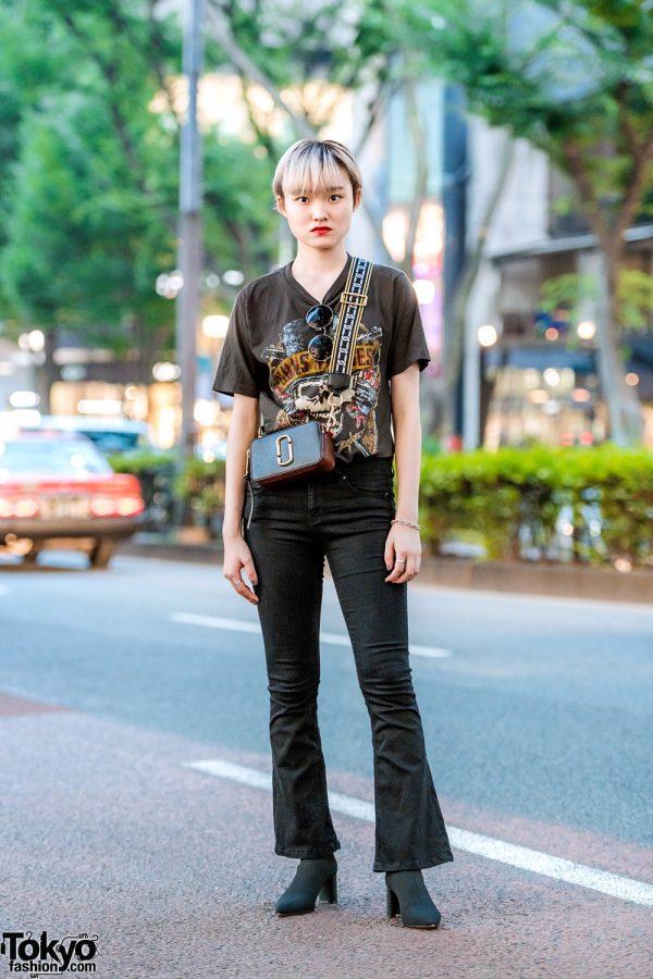 All Black Harajuku Street Style w/ Tiffany & Co., Guns N'Roses Shirt, Zara Flared Pants, Pointy Boots & Marc Jacobs Bag