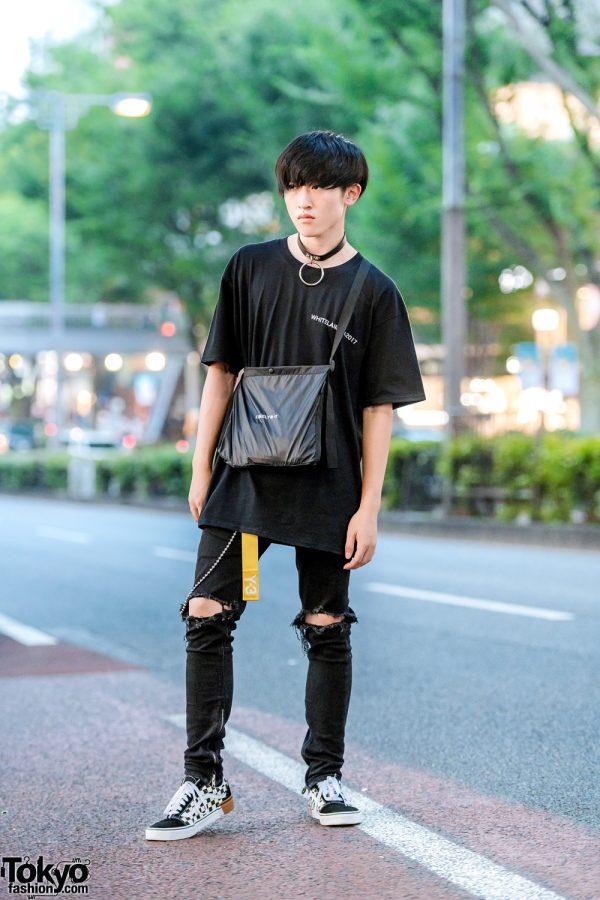 All Black Tokyo Street Style w/ O-Ring Choker, Y-3, Whiteland Blackburn, Mnml, Vans Sneakers & Lonely Bag