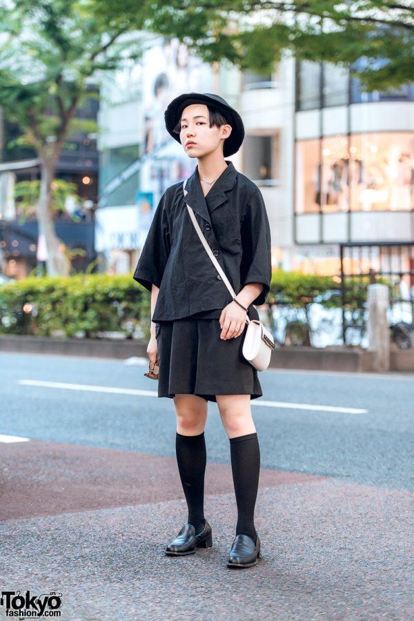 Harajuku Streetwear Style w/ Knee Socks, Loafers, Oversized Sunglasses, Hat & Jean Paul Gaultier Bag