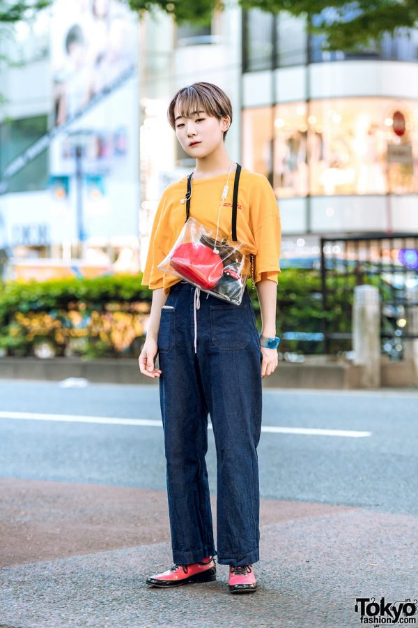 Japanese Streetwear Style w/ DHL T-Shirt, Comme des Garcons Lace-Up Shoes, Gucci Pouch & Issey Miyake Watch