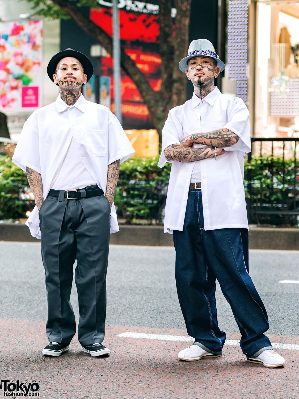 Japanese Tattoo Artist w/ Fedora, Button-Down Shirts & Tattoos