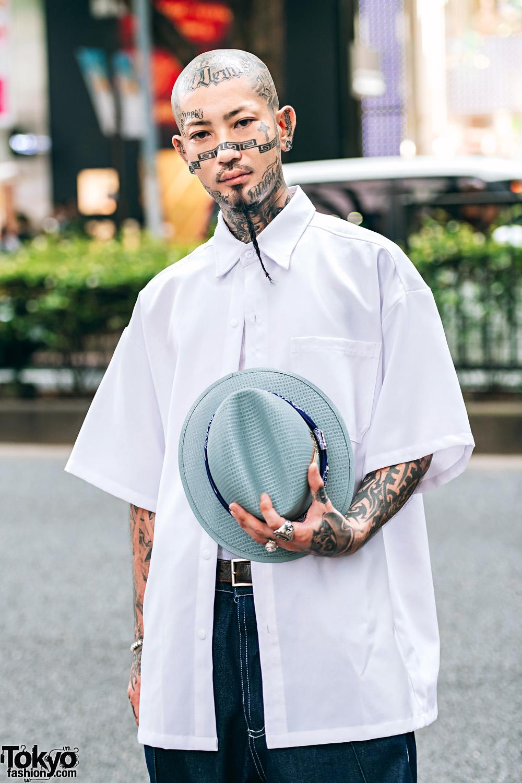 Japanese Tattoo Artist w/ Fedora, Button-Down Shirts & Tattoos  |Fedora Tattoos