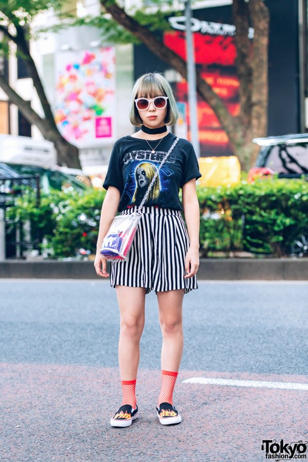Casual Chic Street Style in Harajuku w/ Hysteric T-Shirt, Striped Shorts, Fishnet Socks, Clear Bucket Bag & Vans Slip-Ons
