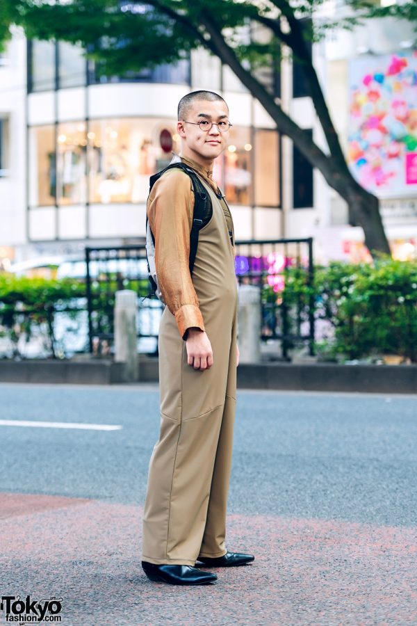 Tan Jumpsuit Harajuku Street Style w/ Eckhaus Latta, Halo Labels, Radd Lounge & Underground
