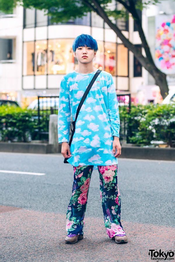 Blue-Haired Harajuku Guy in Mixed Prints Fashion w/ Office Kiko Cloud Print Sweatshirt, Dior Floral Pants, Nike & Yoko Fuchigami