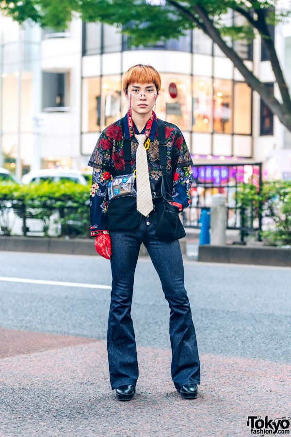 Harajuku Guy w/ Floral Print Top, Printed Necktie, Flared Jeans, Black Boots & Red Floral Lace Gloves