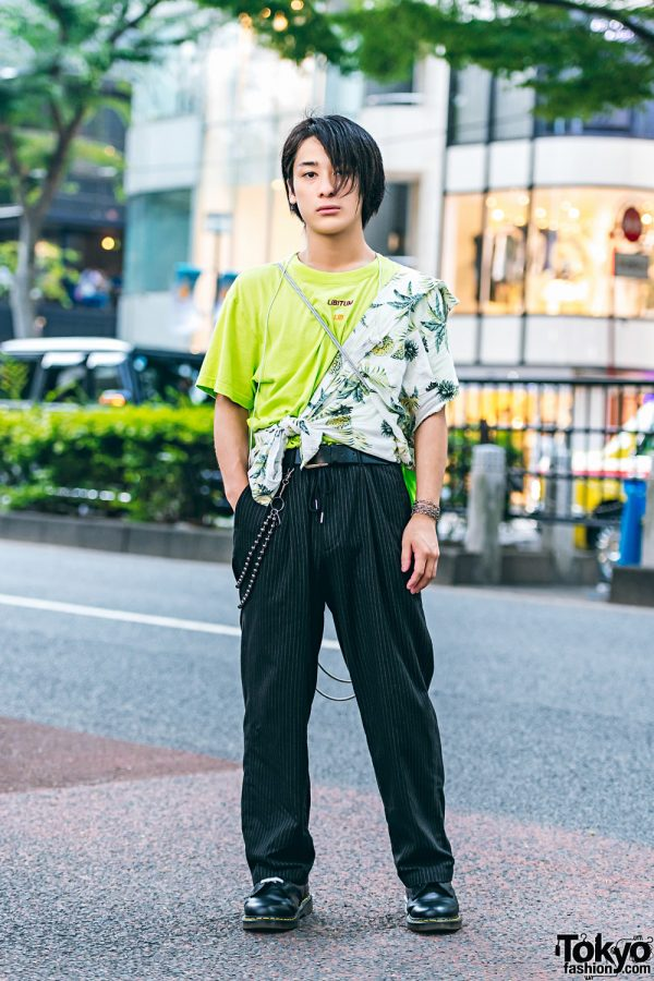 Tokyo Streetwear Style w/ Neon Green Shirt, Hawaiian Print Top & Pinstripe Pants