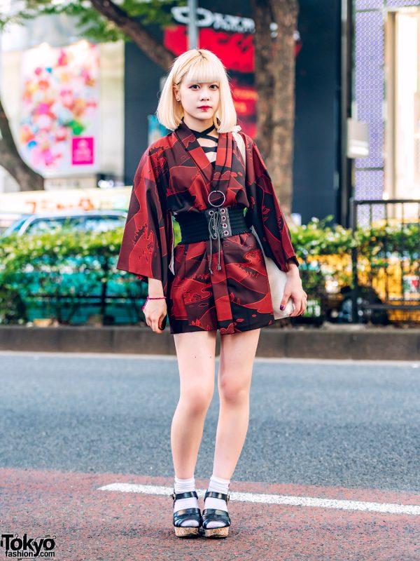 Japanese Kimono Dress Street Style W Liz Lisa Corset