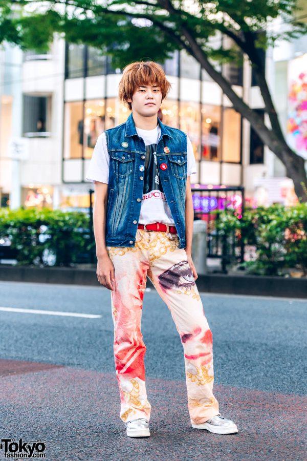 Casual Harajuku Street Style w/ Orange Hair, Bruce Lee T-Shirt, Denim Vest, Printed Pants & Metallic Sneakers