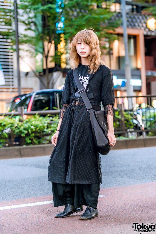 All Black Minimalist Streetwear w/ Lace Overcoat, Kansai Yamamoto, Christian Dada & Comme des Garcons