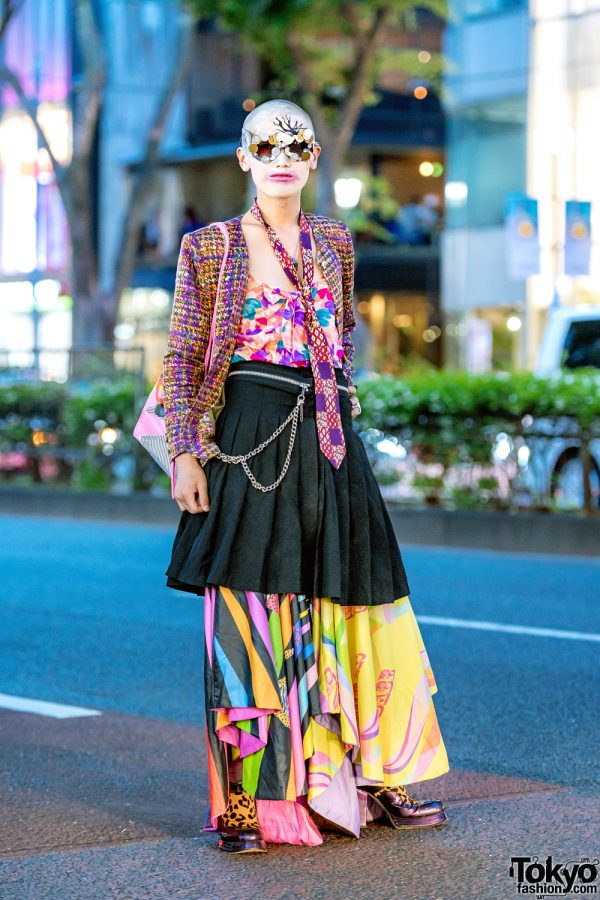 Japanese Fashion Designer in Avant-Garde Street Style w/ Necktie, Comme des Garcons, Frammy, Vintage Tops & Coin Glasses