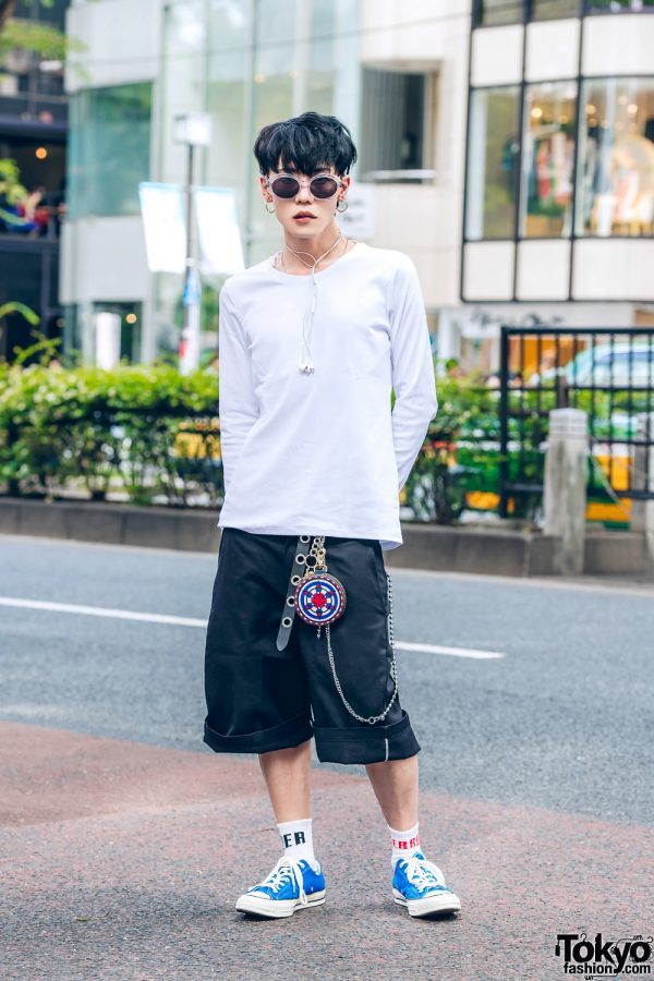 Symbolic Tokyo Fashion Designer in Casual Streetwear Style w/ Alexander Wang, Dickies Tailored Shorts, Converse, BlackMeans & Chrome Hearts