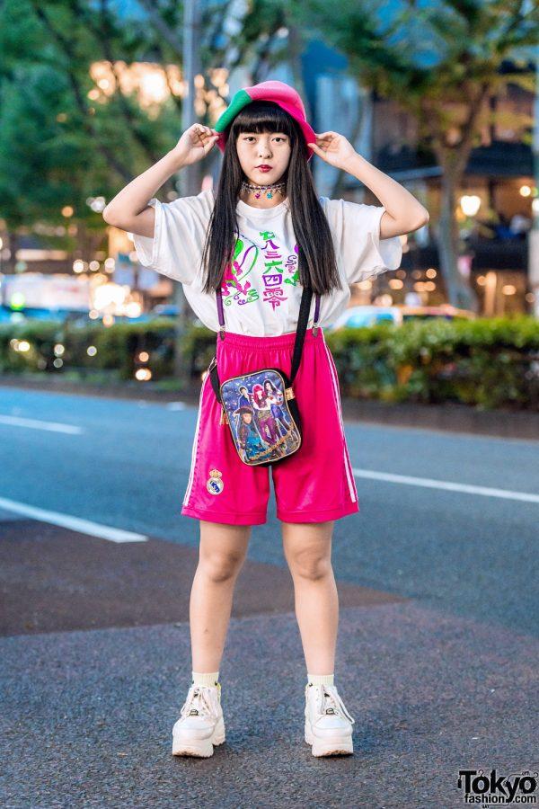 Sporty Harajuku Street Style w/ Mesh Newsboy Cap, Kobinai T-Shirt, Yosuke Sneakers & Thank You Mart Sling Bag