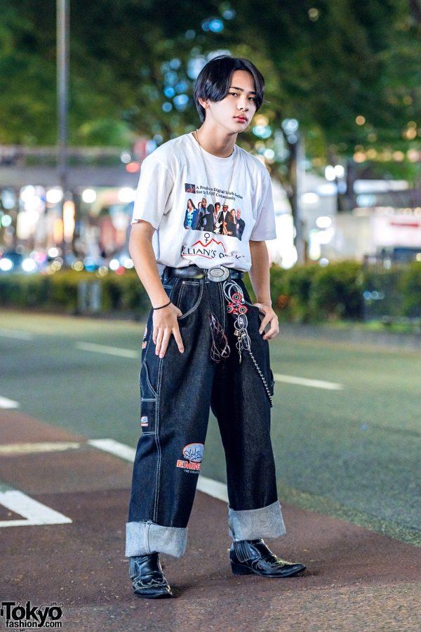Harajuku Guy's Minimalist Street Style w/ Jillian's Peak T-Shirt, Eminem Rolled-Up Pants & Leather Chelsea Boots