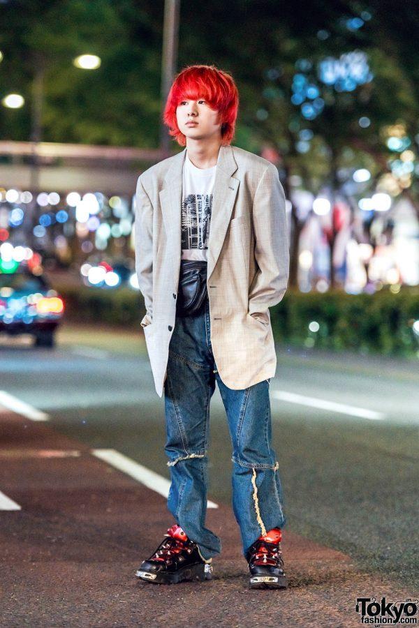 Casual Harajuku Street Style w/ Valentino Blazer, Nogizaka T-Shirt, New Rock Spiked Sneakers & Oh Pearl Tokyo Waist Bag