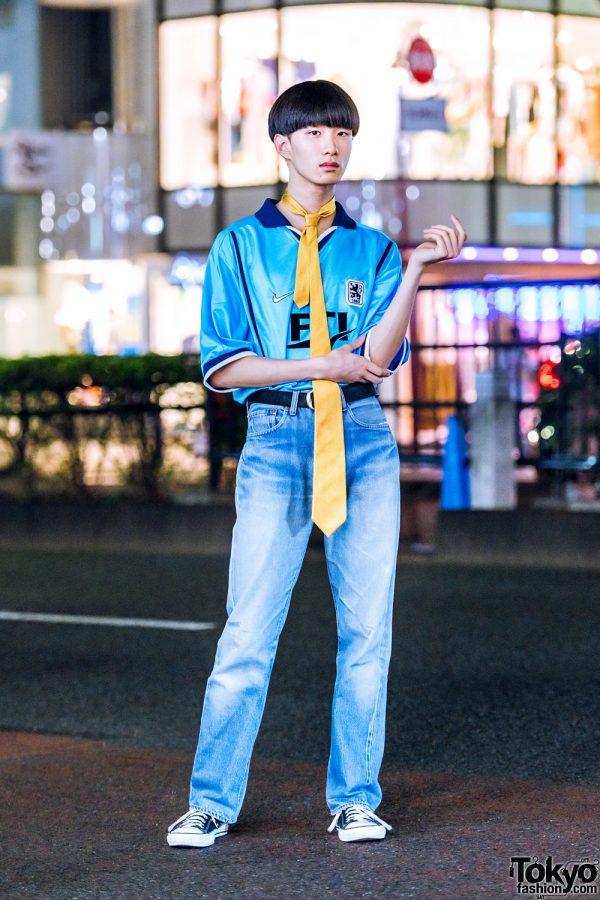 Sporty Casual Street Style in Harajuku w/ Nike 1860 Munchen Football Sports Jersey, Levi's Jeans, Converse Sneakers, CDG Belt & Necktie