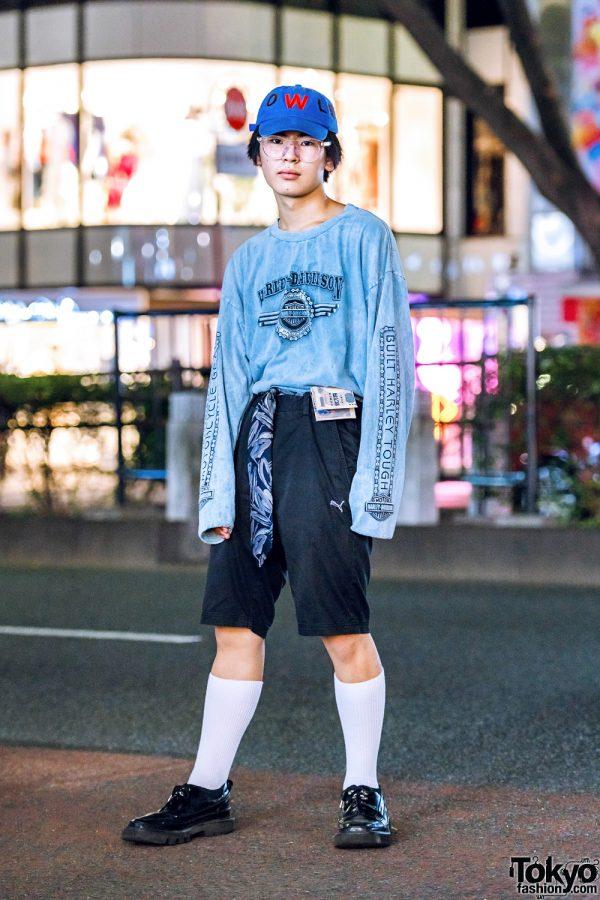 Casual Streetwear Style in Harajuku w/ Harley Davidson Sweatshirt, Puma Shorts, Rombaut Shoes & Walter Van Beirendonck