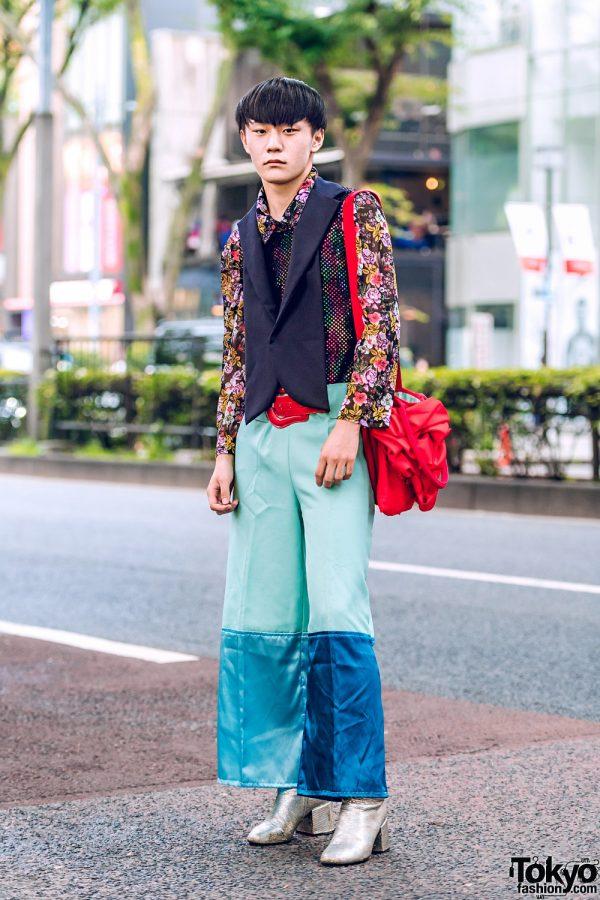 Japanese Eclectic Street Style w/ Floral Print Shirt, Shin Mesh Blazer Top & Ruffle Sling, Colorblock Pants & Maison Margiela Snakeskin Boots