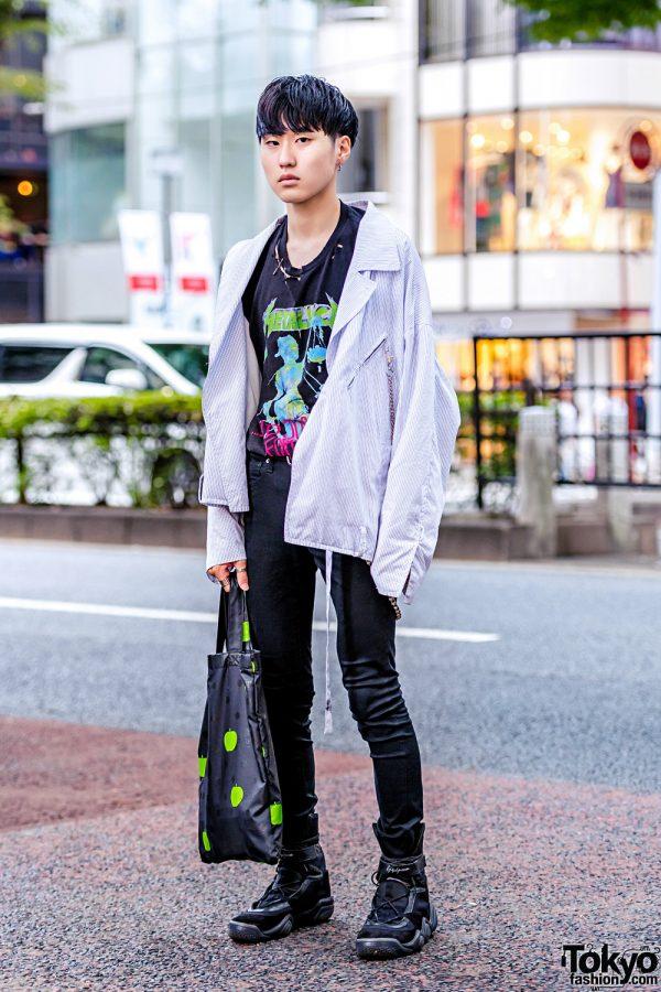 Harajuku Street Style w/ Hare Oversized Jacket, Metallica Ripped Tee, Yohji Yamamoto Sneakers & Comme des Garons The Beatles Tote