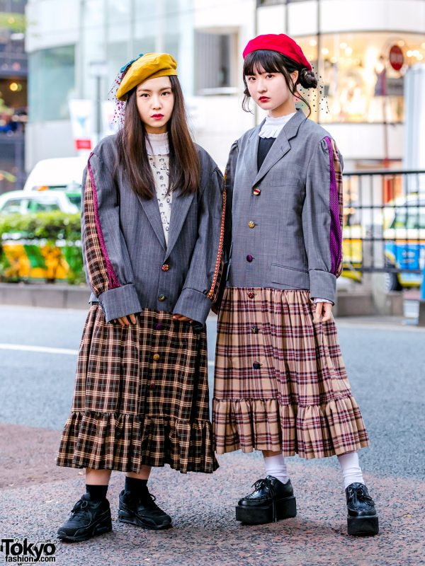 HEIHEI Harajuku Girls in Plaid Streetwear Styles w/ Blazer, Plaid Skirt Dress, Veil Berets & Yosuke