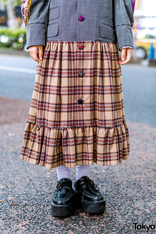 Heihei Harajuku Girls In Plaid Streetwear Styles W Blazer Plaid Skirt