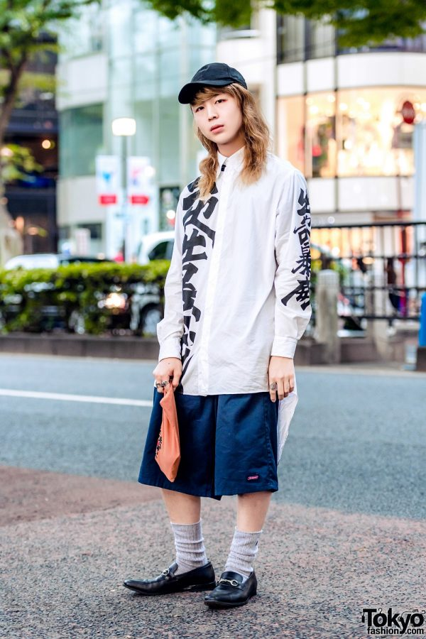 Fashion College Student in Monochrome Streetwear w/ Kansai Yamamoto Kanji Print Shirt, Dickies Shorts, Leather Loafers, Cap & Wristlet