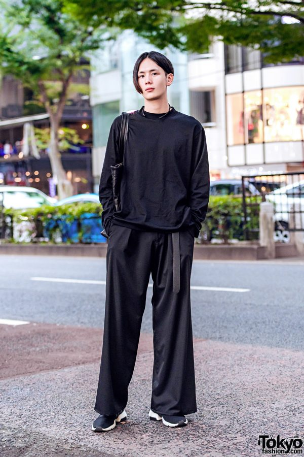 Japanese Actor in All Black Streetwear Style w/ Little Big, Sulvam, Adidas Sneakers & Studious Leather Tote