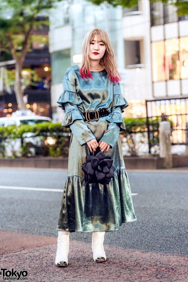 Japanese Fashion Designer Street Style w/ Red Hair Tips, lilLilly Ruffle Dress, Metal Tip Boots & Vintage Flower Petal Handbag