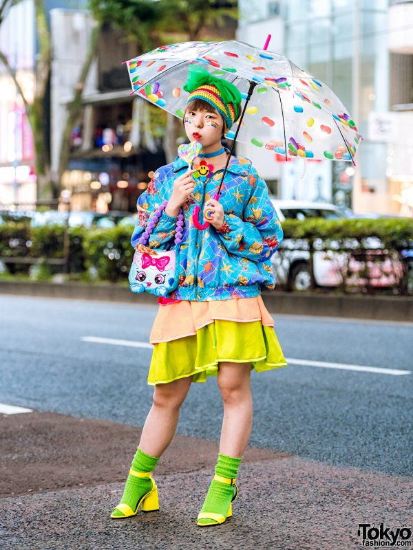 Colorful Kawaii Street Style in Harajuku w/ Printed Jacket, Handmade Ruffle Skirt, Ankle-Strap Sandals, Remake Accessories & Thank You Mart Cat Bag