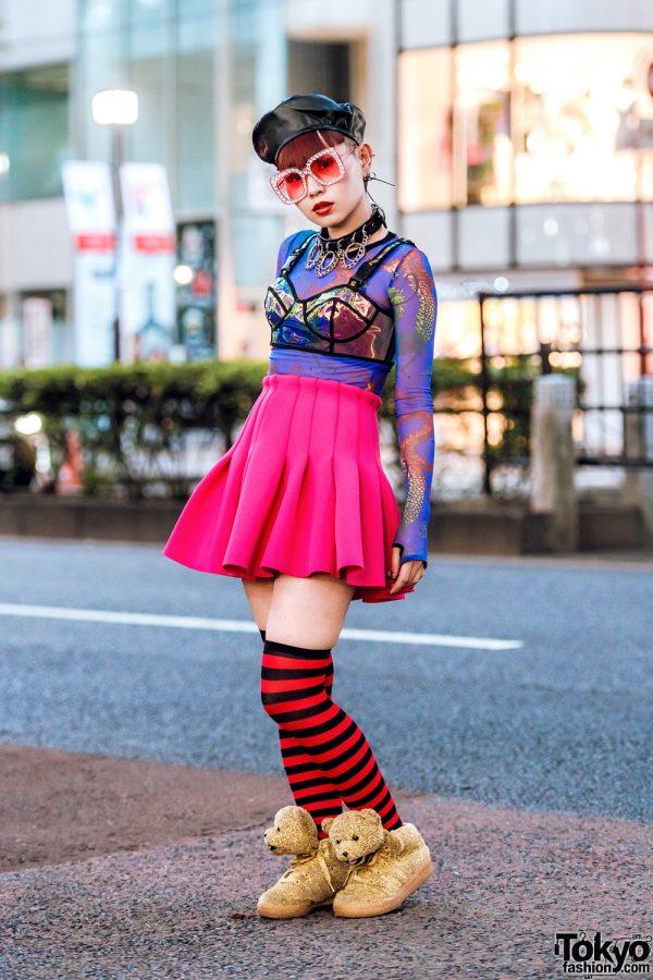 Harajuku Nailist in Dolls Kill Top, Pink Flared Skirt & Adidas x Jeremy Scott Gold Teddy Bear Sneakers