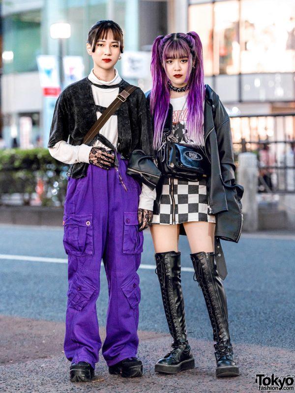 Purple & Black Harajuku Streetwear Styles w/ Never Mind the XU, Crank, Open The Door, DYOG, Demonia, Nyulcadelic, Warp, Uniqlo, Coach & WEGO