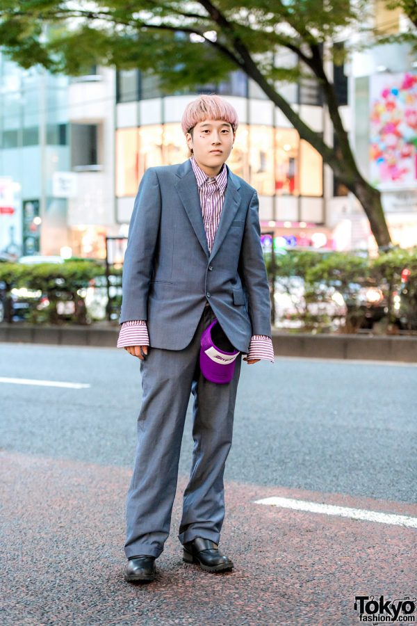 Harajuku Guy w/ Pink Hair, Striped Top & Burberry Suit