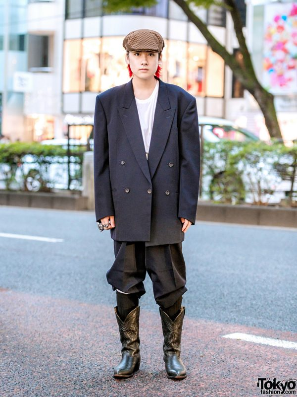 Comme des Garcons Harajuku Menswear Street Fashion w/ Checkered Newsboy Cap & Vintage Cowboy Boots