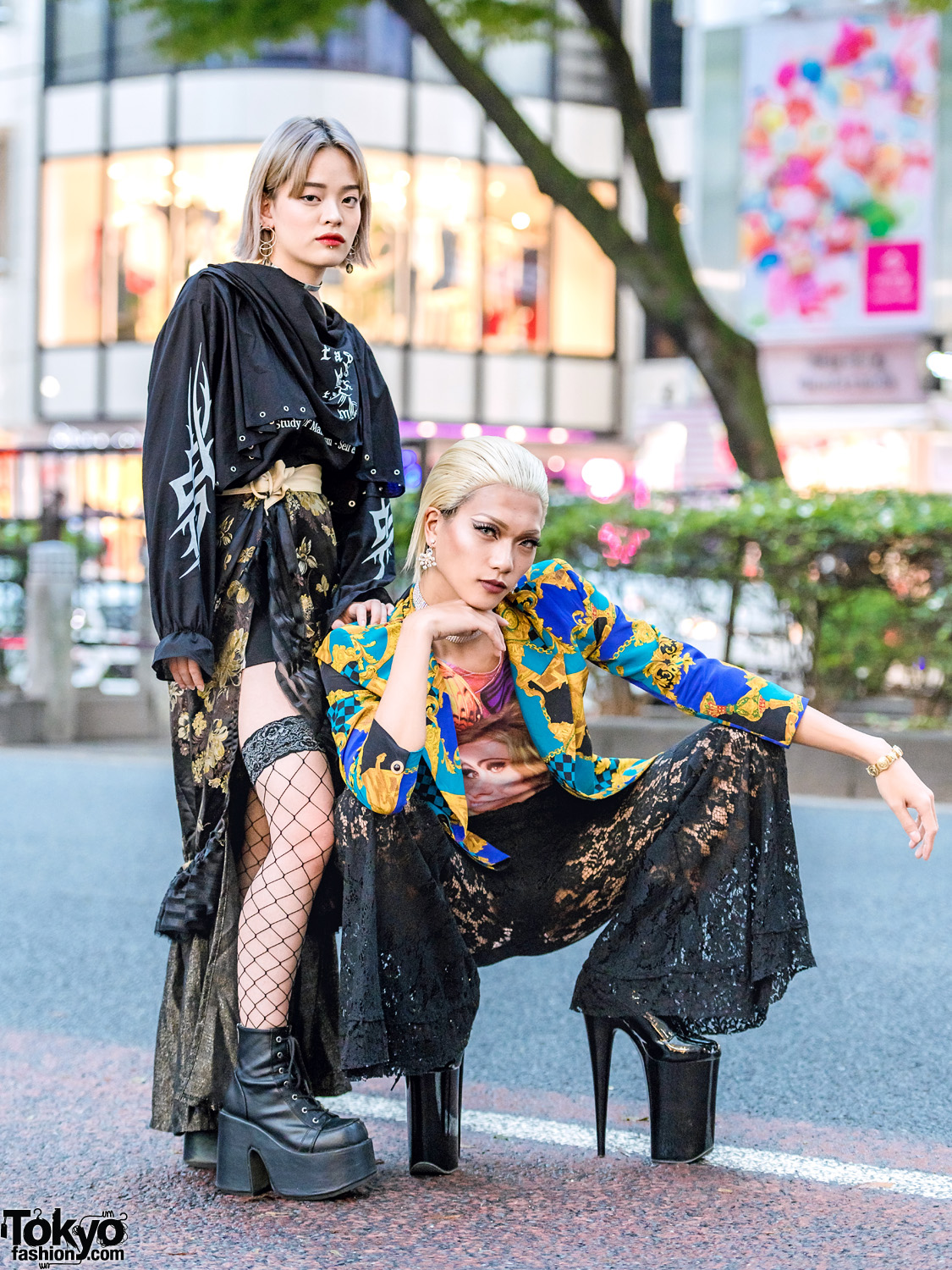 Japanese Street Styles W Black Floral Lace Fishnets M Y