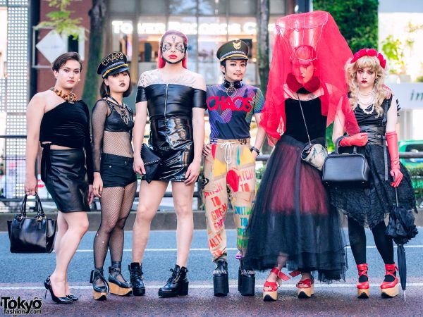 Avant-Garde Harajuku Street Styles w/ Iconic Vivienne Westwood Rocking Horse Shoes, Anglomania Chaos Top, Vintage Satchel, Red Veil, Wire Crown, Monster Shoes & Floral Headpiece