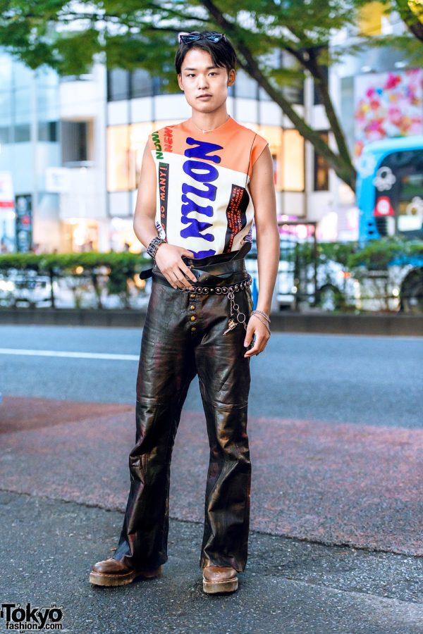Raf Simons Graphic Top & Resale Leather Pants Harajuku Street Style