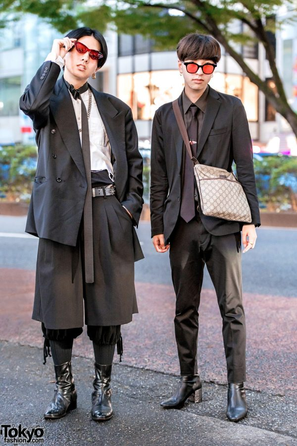 Japanese Menswear Street Styles w/ Red Glasses, Hugo Boss, Edifice, Remake Shirt, Shorts Over Pants, Dior Boots & Gucci Sling
