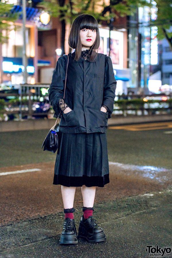 Harajuku Girl in All Black Vintage Street Style w/ Comme des Garcons, Nadia, Celine & Demonia
