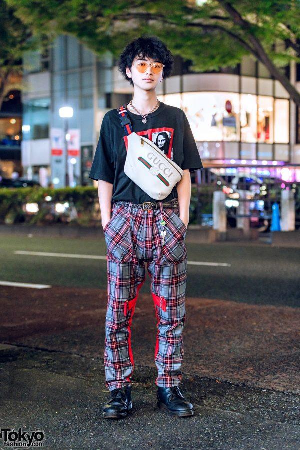 Harajuku Plaid Street Style w/ Mona Lisa Shirt, Biscuithead Bondage Pants, Gucci Waist Bag & Tiffany & Co. Heart Necklace