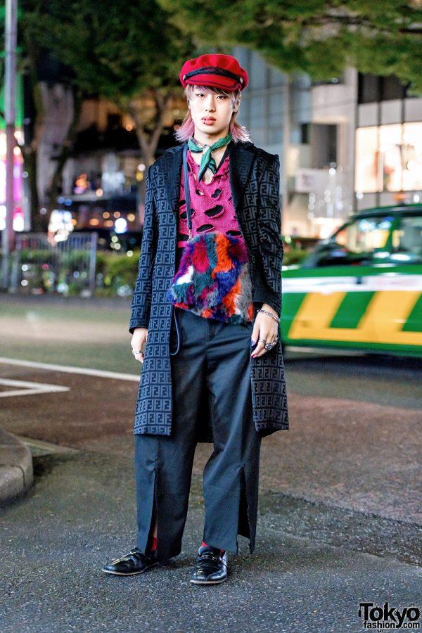 Stylish Harajuku Menswear Style w/ Fendi Coat, Distressed Top, Slit-Hem Pants, Captain's Hat & Fuzzy Sling