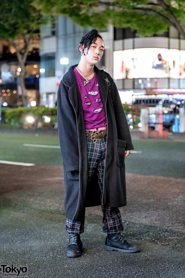 Harajuku Streetwear Style w/ Braids, PPFM Torn Shirts, Plaid Pants, Pinnap, Adidas & Knuckleduster Belt