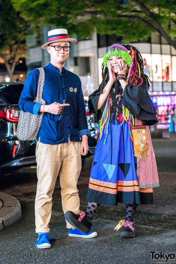 Harajuku Duo Street Styles w/ Multicolored Hair Falls, Fringed Headdress, Ruffle Dress, Mandarin Collar Shirt & Badges