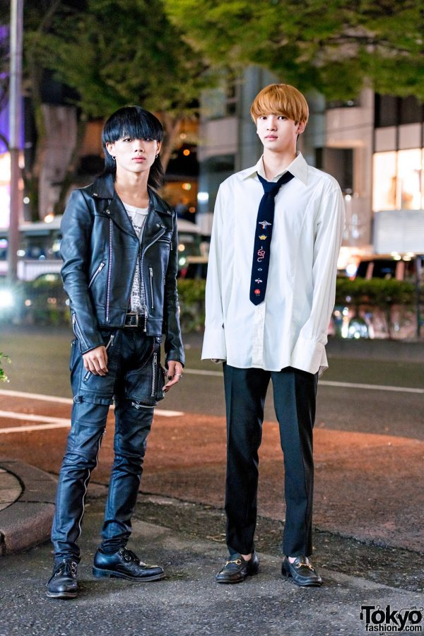Harajuku Guys in Monochrome Streetwear Styles w/ 99%IS Leather Outfit, George Cox Shoes, Gucci & Tokyo Human Experiments Wire Rings