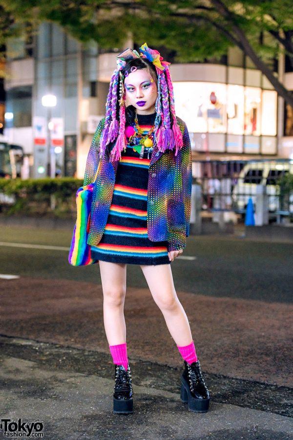 Colorful Kawaii Harajuku Street Style w/ Rainbow Hair Falls, Kinji, Kobinai & Bubbles Tokyo