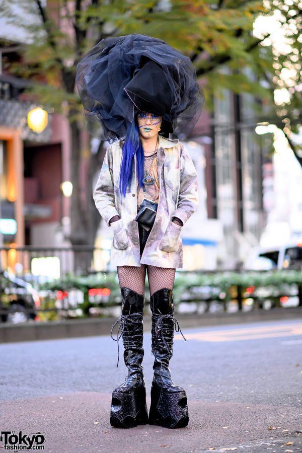 Harajuku Fashion Buyer in Avant-garde Handmade Hat, Vivienne Westwood, Yohji & Pleaser Platform Boots